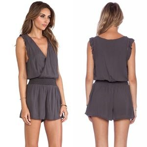 Free People Soft Surplice Romper Charcoal Grey S